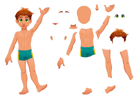 separated: Parts of body. Cartoon and vector separated elements. Illustration