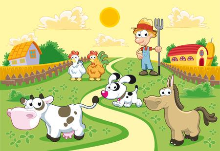 cartoon farm: Farm Family with background. Funny cartoon and vector illustration.