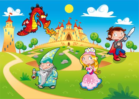 castillos de princesas: Medieval Age - Princesa, el Pr�ncipe, de drag�n, el humor de mago de dibujos animados de ilustraci�n, con fondo.