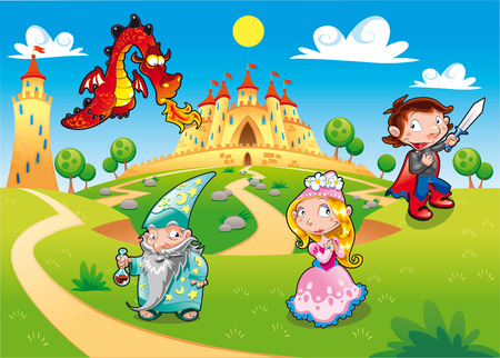 Medieval Age - Princess, Prince, Dragon, Magician Funny cartoon illustration with background. Vector