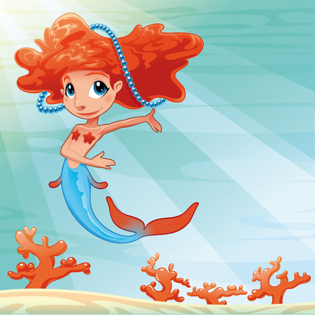 Young mermaid with background. Funny cartoon and vector mythological illustration. Vector