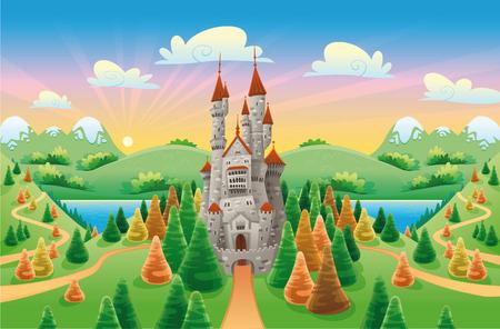 castello medievale: Panorama con castello medievale. Fumetto e illustrazione