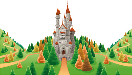 Medieval castle in the land. Cartoon and  illustration Vector