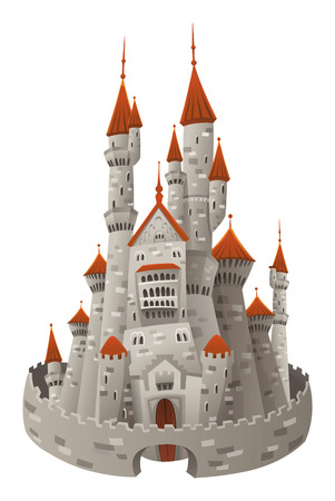 castello medievale: Castello medievale. Oggetto isolato e Cartoon Vettoriali