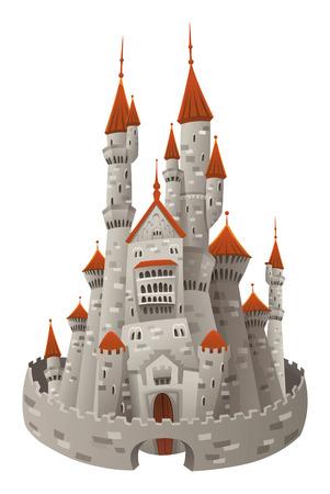 castle rock: Castillo medieval. Dibujos animados y objeto aislado  Vectores