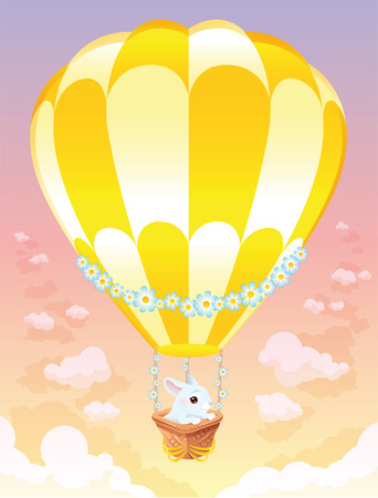 Hot air balloon with white bunny. Cartoon and vector illustration. Vector