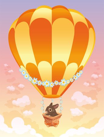 Hot air balloon with brown bunny. Vector illustration. Stock Vector - 6320498