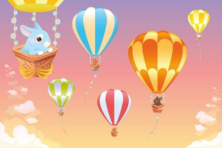 animalitos tiernos: Globos de aire caliente en el cielo con conejo. Escena de dibujos animados y vector Vectores