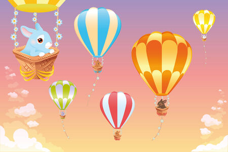 Hot air balloons in the sky with bunny. Cartoon and vector scene