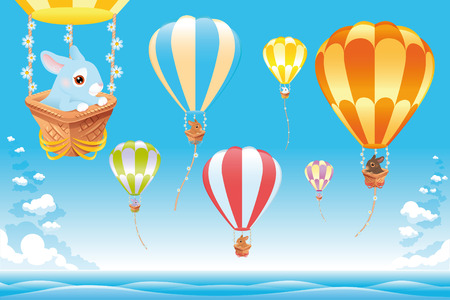Hot air balloons in the sky on the sea with bunny. Cartoon and vector scene
