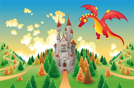 castello medievale: Panorama con il castello medievale e il drago. Illustrazione di cartone animato e vettoriale Vettoriali
