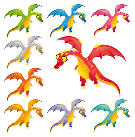 Set of colored dragons. Funny cartoon and vector characters. Stock Vector - 6320499