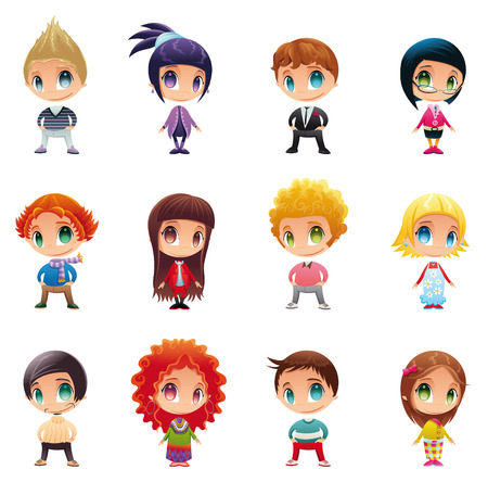 boy student: Set of funny people. Cartoon and vector characters. Illustration