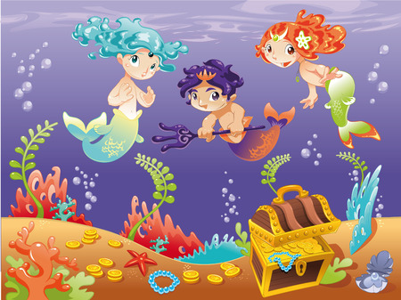 mythological: Baby Sirens and Baby Triton with background. Illustration