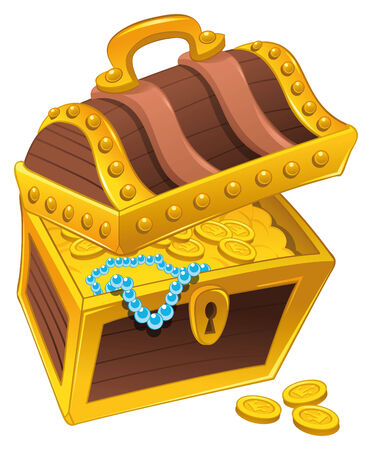 richness: Golden coffer with treasure,full of coins, with a pearl necklace.