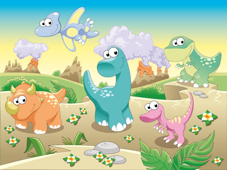 volcanos: Dinosaurs Family with background.