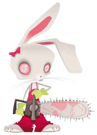 killer: Horror bunny. Vector and cartoon illustration.