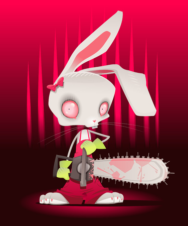 diabolic: Horror bunny with background.  Illustration