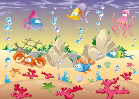 Family of marine animals in the sea. Funny cartoon Stock Vector - 6474578