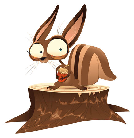 Squirrel on trunk, funny cartoon and vector character.