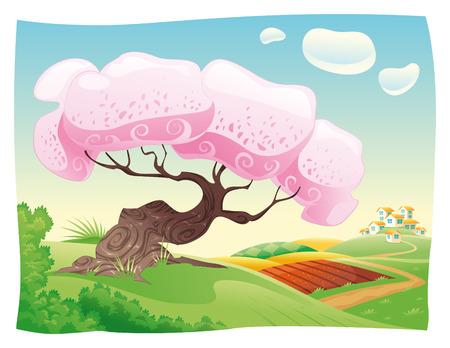 bucolic: Campagna. cartone animato paesaggio.