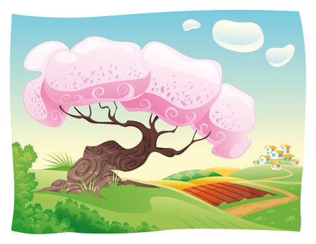 rural land: Countryside. cartoon landscape.