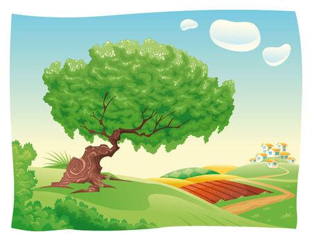 Paisaje de Countryside.Cartoon. Objetos aislados. Ilustración de vector