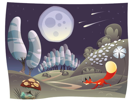 tales: Fox in the night. Funny cartoon Illustration
