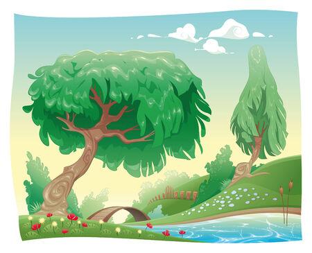 bucolic: Campagna. cartone animato paesaggio. Oggetti isolati.