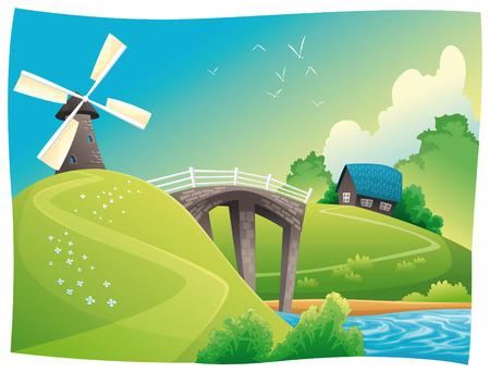 bucolic: Paesaggio con mulino a vento. cartone animato paesaggio. Oggetti isolati.