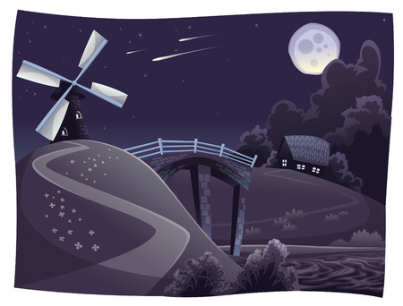 bucolic: Countryside with windmill in the night. Vector landscape.