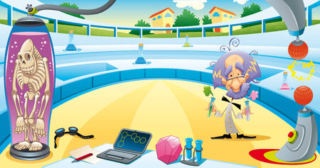 Mad scientist in the laboratory. Funny  cartoon illustration. Isolated objects Vector
