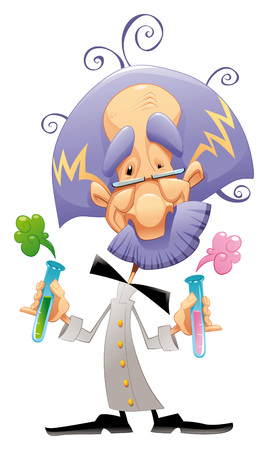 Mad scientist. Funny cartoon character. Vector