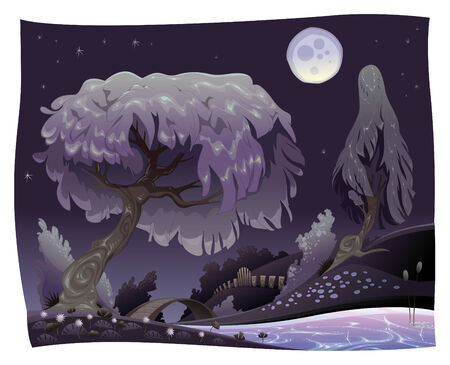 Landscape in the night with river. illustration. Stock Vector - 6648062