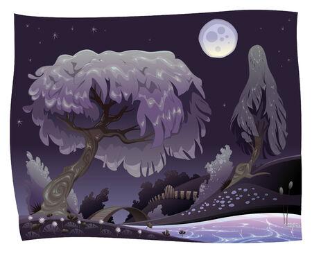 bucolic: Paesaggio nella notte con il fiume. illustrazione.