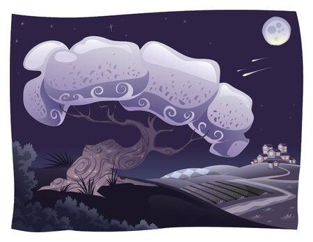 bucolic: Campagna nella notte. cartone animato paesaggio. Oggetti isolati.