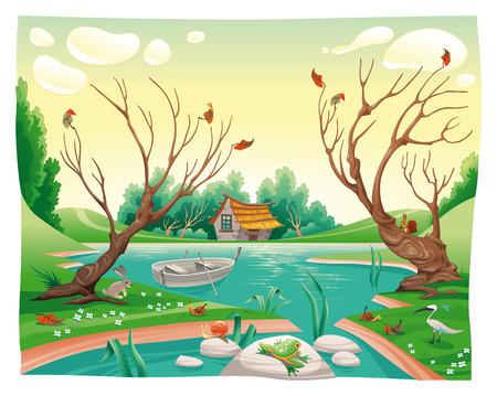 Estanque y los animales. Ilustración de dibujos animados y vector divertido Ilustración de vector