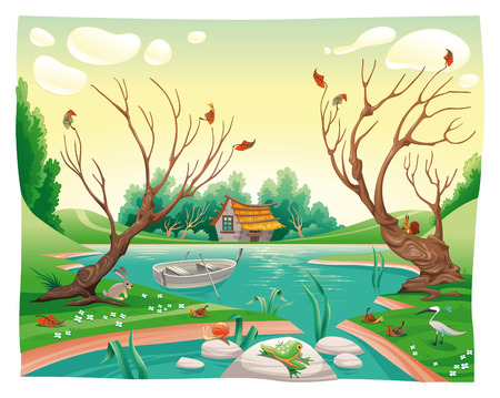 fall scenery: Pond and animals. Funny cartoon and vector illustration Illustration