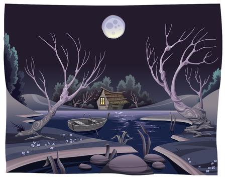 liebre: Estanque en la noche. Ilustración de dibujos animados y vector divertido
