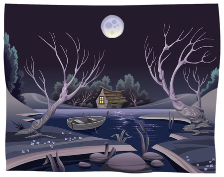 cartoon hare: Pond in the night. Funny cartoon and vector illustration