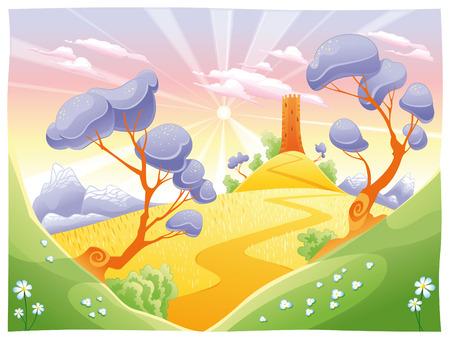 bucolic: Paesaggio con la torre. Divertenti cartoni animati e vettoriale illustrazione. Vettoriali