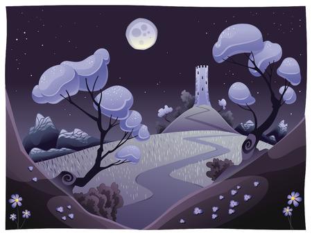 bucolic: Paesaggio con torre nella notte. Divertente cartoni animati e vettoriale illustrazione. Vettoriali