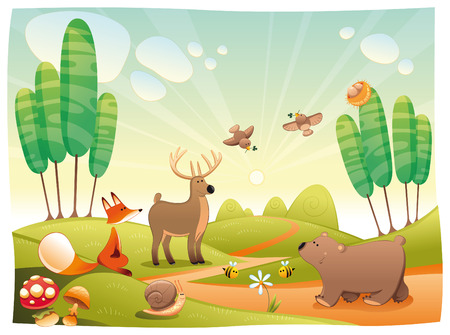 Animals in the wood. Funny cartoon and vector illustration Stock Vector - 6746398