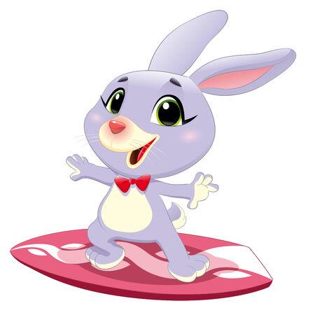 서핑 토끼 토끼입니다. 일러스트