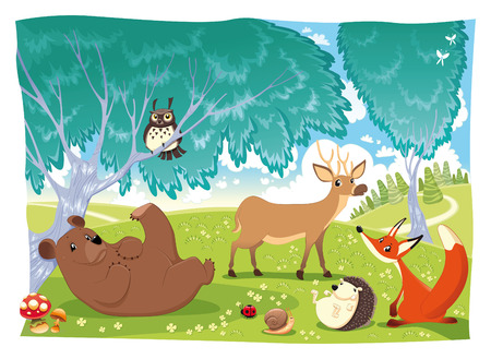 Animals in the wood.  Vector