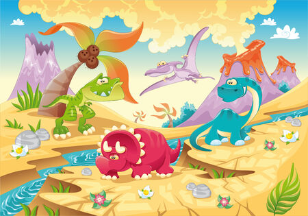 dinosaurs: Dinosaurs Family with background.