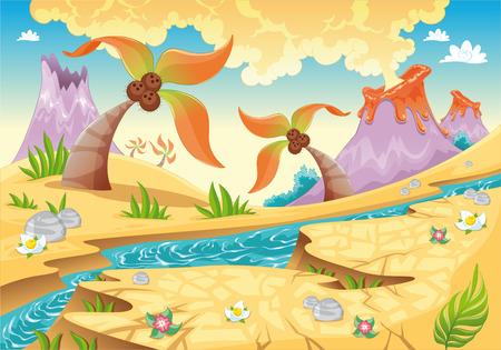 Hintergrund mit Struktur Palmen und Vulkane.