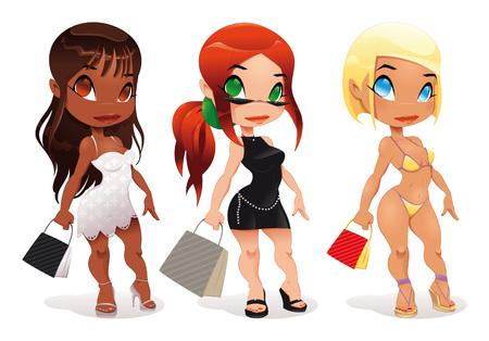 hair black color: Three kind of ladies.