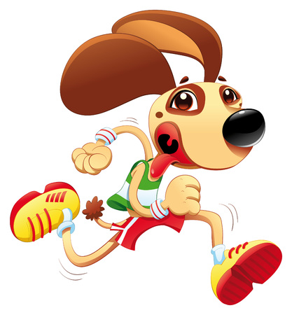 quickness: Funny dog is running. cartoon character. Object isolated Illustration