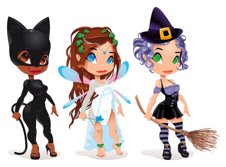 cat suit: Pussy, Fairy and Witch. Cartoon characters.